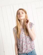 100% viscose basic print blouse elastic hem latest ladies printed blouse designs