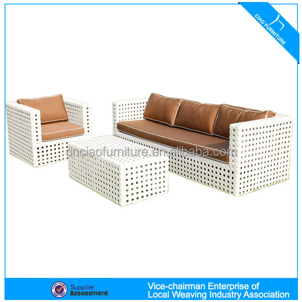 White wicker patio furniture sofa set 4014