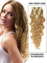 blonde wave full head set clip in human hair extentions