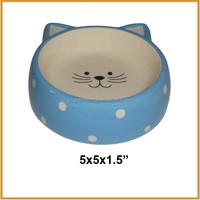 blue cat bowl ceramic pet bowls for sales
