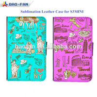 Blank sublimation leather phone cases for Samsung Galaxy S3mini i8190 Flip Cover Case for S3mini