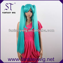 Free sample extra long green straight two ponytail cheap cosplay wigs
