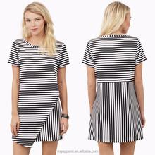 2015 latest dress designs stripe print asymmetric wrap hem shift dress casual weat