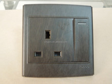 British standard 13 A switched socket wooden color , 15A round socket