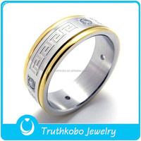 TKB-R0069 Men's Greek style jewelry with Greek Key Pattern two tone 316L stainless steel spinner ring
