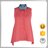 China suppliers New style Organic Women's fashion cutting blouse design