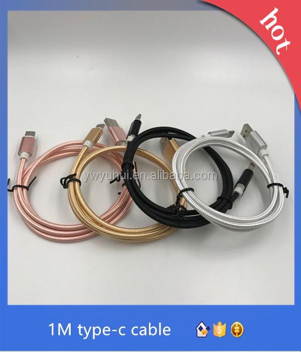 Liga de alumínio de nylon colorido micro usb cabo trançado usb 3.1 tipo c cabo micro usb cabo de carregamento para o tipo C do telefone móvel