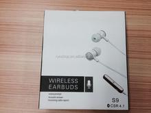 wireless bluetooth 4.1 sports headset stereo earbuds headphones in-ear earphone built-in microphone sweatproof for smart phones