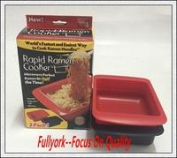 2pcs Microwave Plastic Cereal Milk Salad Bowl Noodles Rapid Ramen Cooker