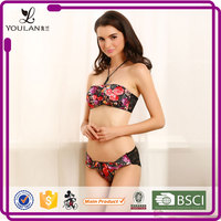Lace Pattern Beautiful Sexual attraction sexy fancy bra and panties transparent lace panty set