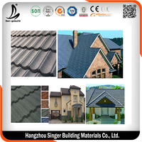 Building Colorful Classic Type Stone Chip Coated Metal Roof Tile Cost
