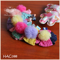 Colorful Fluffy Ball Fur Ball With Bow Girl Hair Ornament Accessory