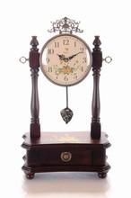 Wooden Desk Clock Solid Wood Vintage Antique Table Clock
