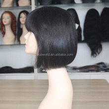 wholesale factory price human hair short bob style lace front wig black with bangs