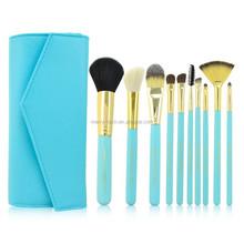 Travel kit 10pcs blue color makeup brush /cosmetic brush set