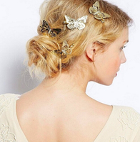 Cheap price silver & rose gold plated metal butterfly ladies fancy hair clips/fashion hair clips