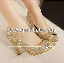 2014 precio barato al por mayor nuevo diseño caliente venta de la mejor calidad de oro del alto talón zapatos de alibaba