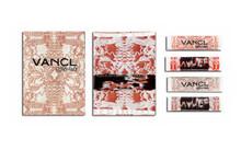 2015 Classical Vancl Label Ultrasoinc Cut End Fold Decorative Woven Label For Offive Lady