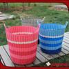 2015 Fshion handmade woven flodable plastic laundry basket