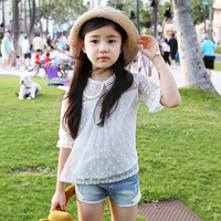 2015 summer new Korean children's clothing lace sleeve kids t-shirt cotton thin good quality girls dot blouse white shirt