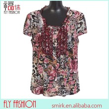 A87# plus size shirts and blouses butterfly blouse tops Europe size lady's new pintuck blouse