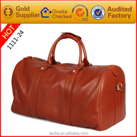 2015 new brand design custom Travel Luggage Bag Genuine Leather Weekend Bag for business man or college boys
