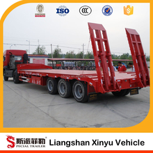 Heavy duty 60 ton low flatbed semi trailer/Tri-axle low bed truck trailer