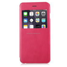 PU mobile phone flip case with PC window for Iphone 6 plus