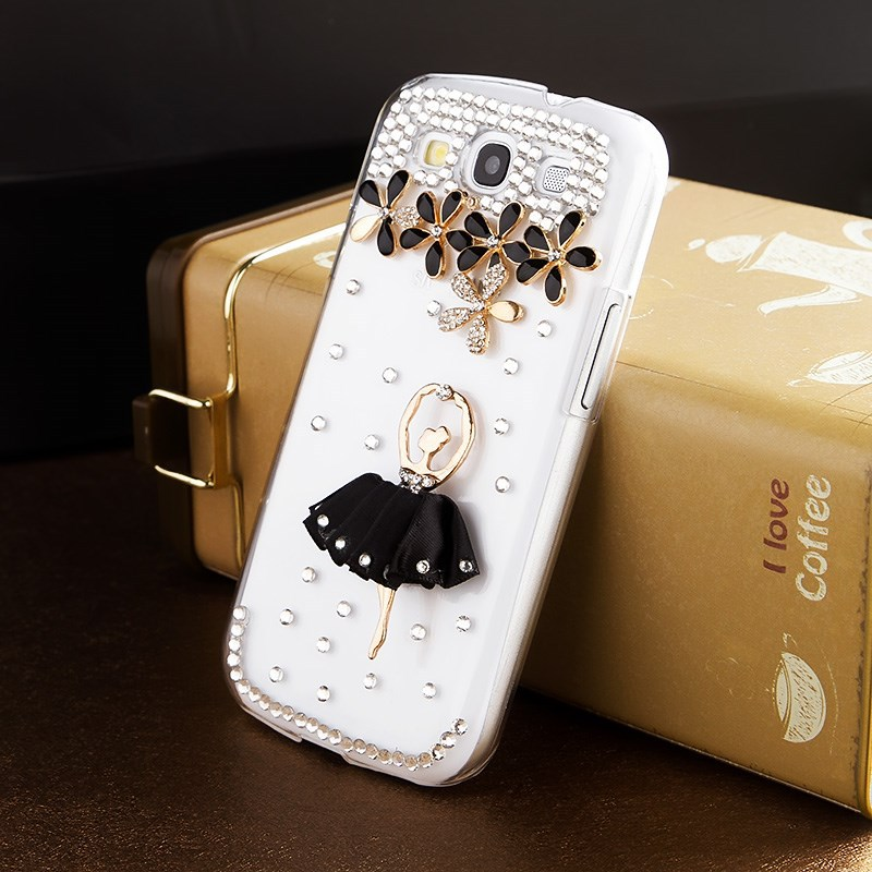 Black skirt girl rhinestone mobile phone case for Samsung Galaxy S3 I9300