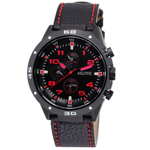 SKONE 9064 Red Word Black Leather Band Men Brand Watches