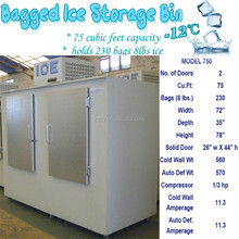 bagged ice storage bin holds 835kg ice cube
