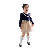 Korean fashion girl new design 2015 wholesale long sleeve beautiful dresses beaded necklaces kids dress for young girls 1403