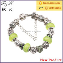 Promotion Gift Love Charm Bracelet with Coloful Murano Glass Beads Bracelet Wholesale