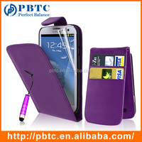 Set Screen Protector Stylus And Case For Samsung Galaxy S3 I9300 , Purple Leather Wallet Cell Phone Case