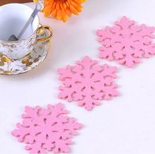 3 pcs pink snowflake shape Christmas felt coasters from China supplier