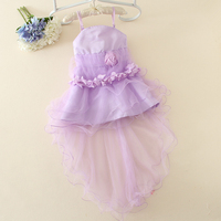 purple girl birthday party dress long back short front design flower neck fashion girl flower kids party wear girl dress