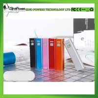 Classical model 2600mah 5V 1A output aluminium lipstick new battery power bank charger with rohs for all smartphones
