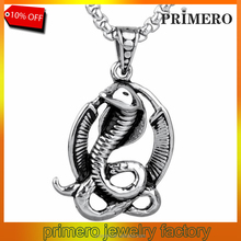 Fashion Stainless Steel Serpent Snake Twisted on Pendant Necklace For Mens Punk Jewelry