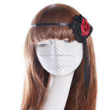 Lace flower face veil mask princess bridal wedding hairpiece with French Netting