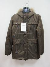 Maloni Men's winter windproof padding fur collar trench coat