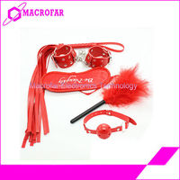 Be Naughty Blindfold + Handcuffs + Whip + Gag + Feather Tickler Sex SM
