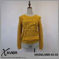 Asymmetric Handmade crocheted Cable type girl knit sweater for women