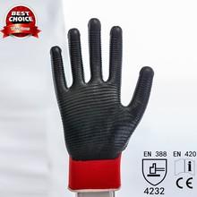 13g nylon polyester knitted coated zebra stripe nitrile safety gloves