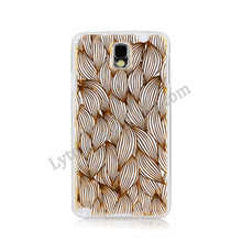 3D Luxury Golden Flowers Edges Design TPU IMD Soft Cover Case For Samsung Galaxy Note 3