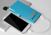 Dual Ultrathin Lithium Polymer Power Bank 8000mah,custom logo external battery Charger 8000 mah power bank