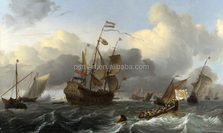 Battle Ships Oil Painting