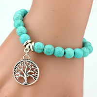 10mm Handmade Newest Designs turquoise beads bracelets in flexible bangle style boho jewelry