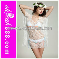 The newest 2014 summer white lace swimwear cover ups bikini cover up dress wholesale