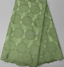 Classical Designed Heavy Voile Lace Swiss rhinestone Cotton Lace LB10064-3 light green