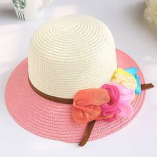 girls summer beach hat straw hat flowers princess spell color children's sun visor cap